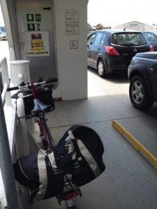 Brompton riding the ferry to Toronto Island Airport