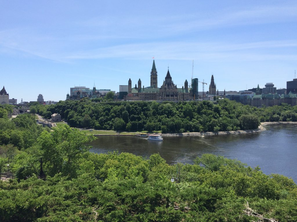 View of Parliament Hill from Nepean Point.