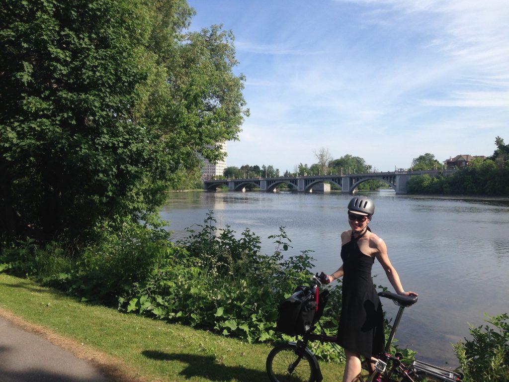 Ottawa - Rideau River Eastern Pathway w my Brompton
