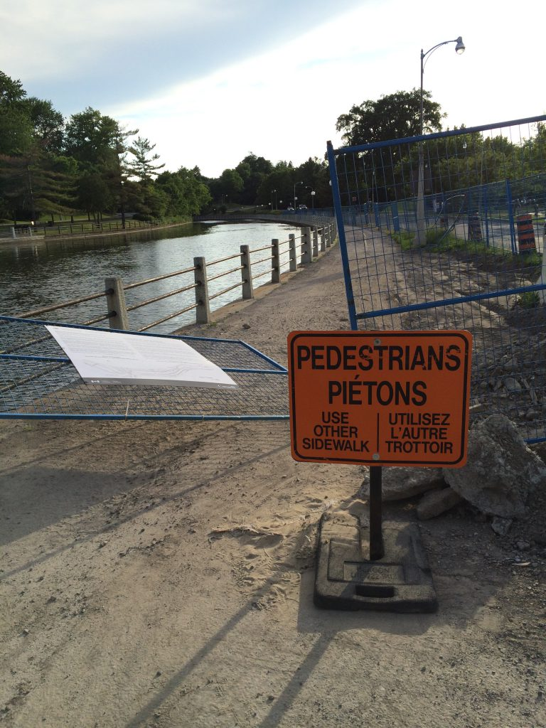 Ottawa - closed section of Rideau Canal Western Pathway