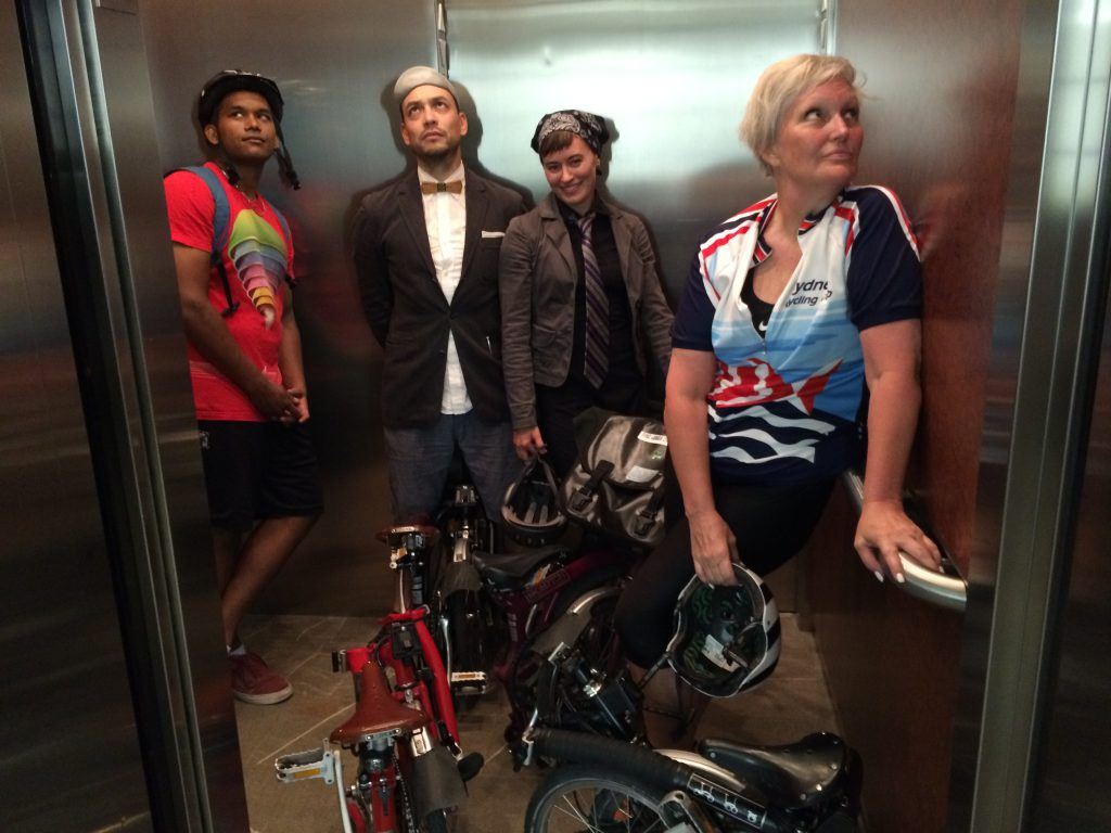 How many Bromptons fit in an elevator? Well, a lot more than this, but we were just a team of four. ;)