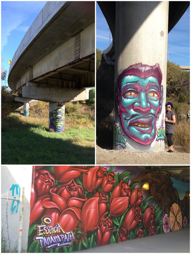 Toronto Pan Am Path graffiti art under 401 expressway