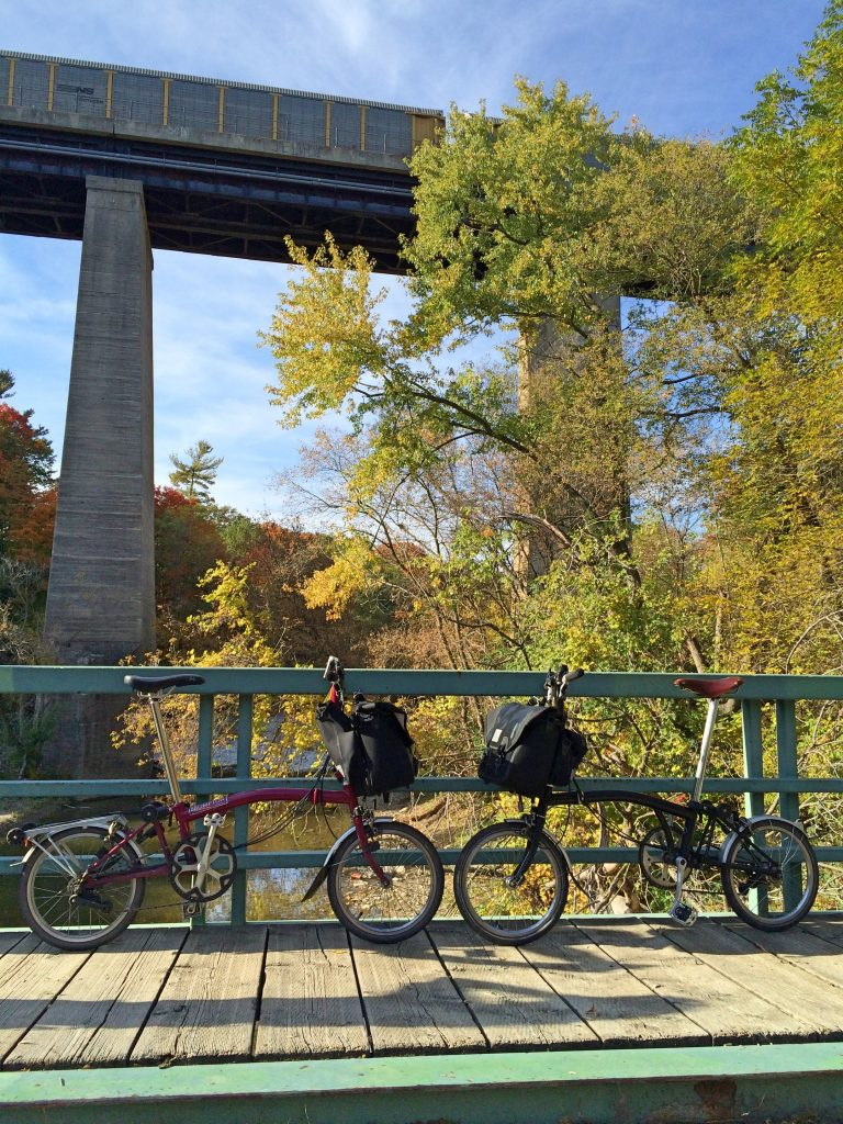 Bromptons on pedestrian bridge, Toronto Pan Am Path