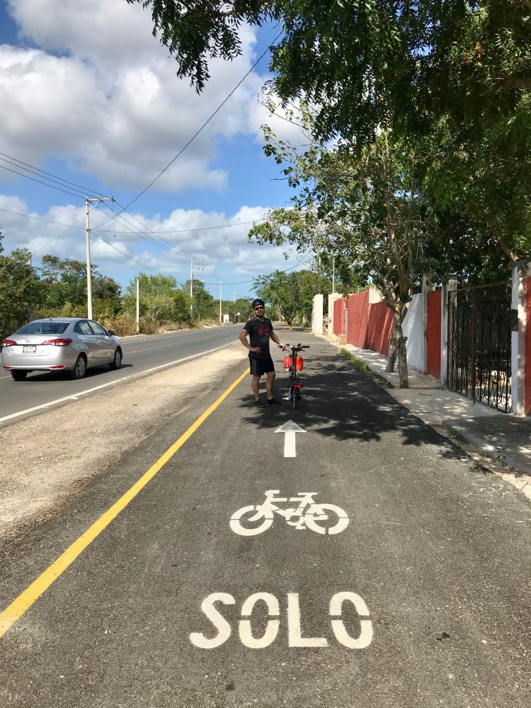 Bike path alongside Carr Temozon-Chablekal just north of Merida, Mexico.