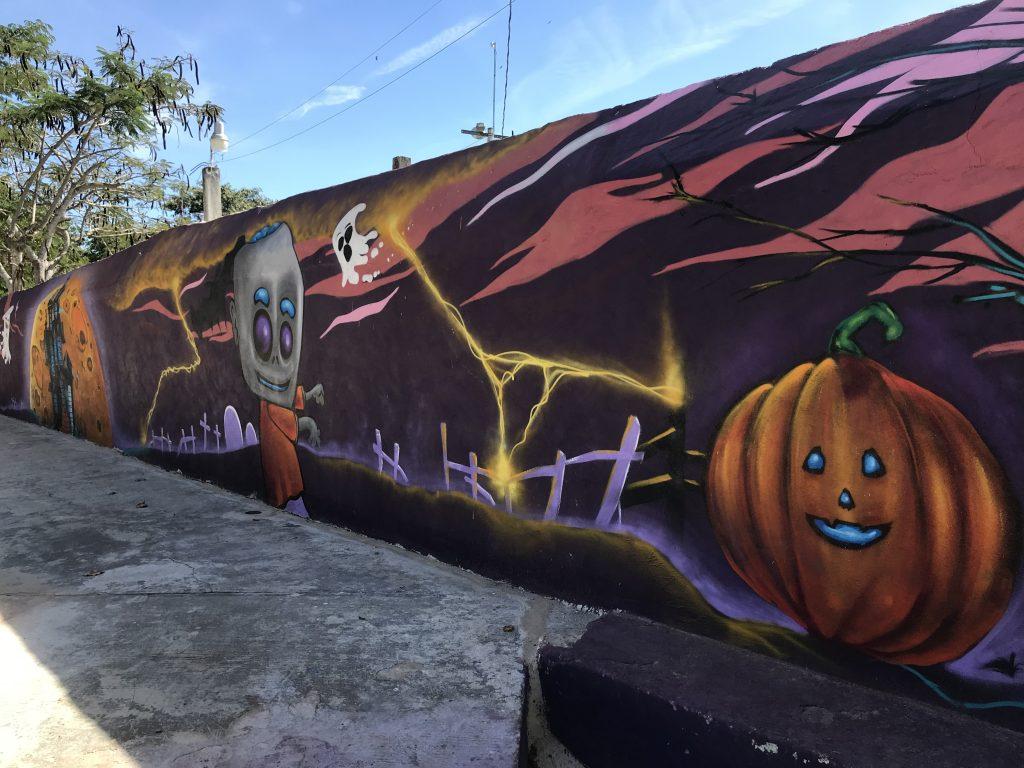 Cemetery graffiti in Tixkokob, Mexico.