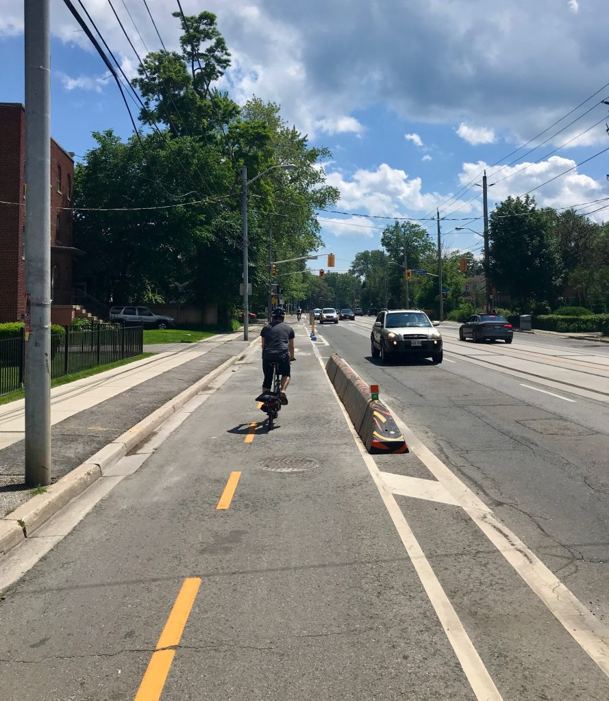 This section of the Waterfront Trail is on a bi-directional bike lane on Lake Shore Boulevard, Toronto.