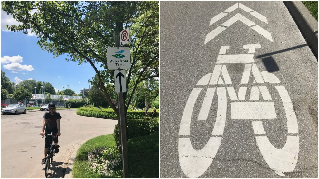 Biking the Waterfront Trail through residential streets is easy - just follow these signs!