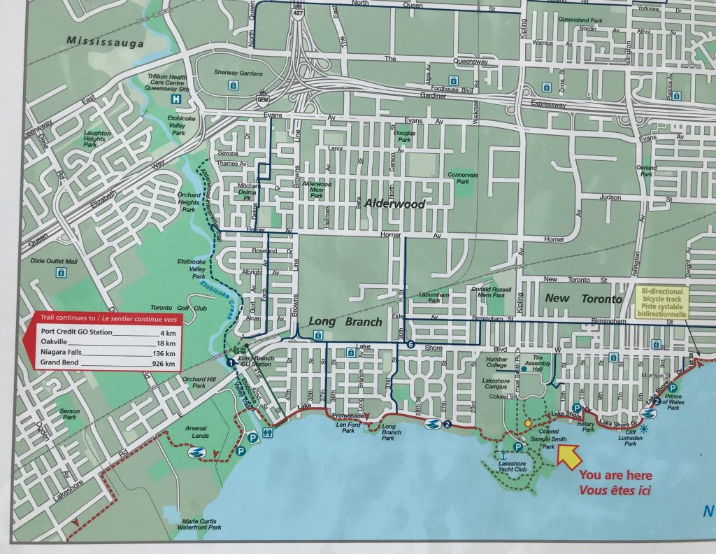 Plus there are Waterfront Trail maps in many of the parks. Waterfront Trail, Toronto.