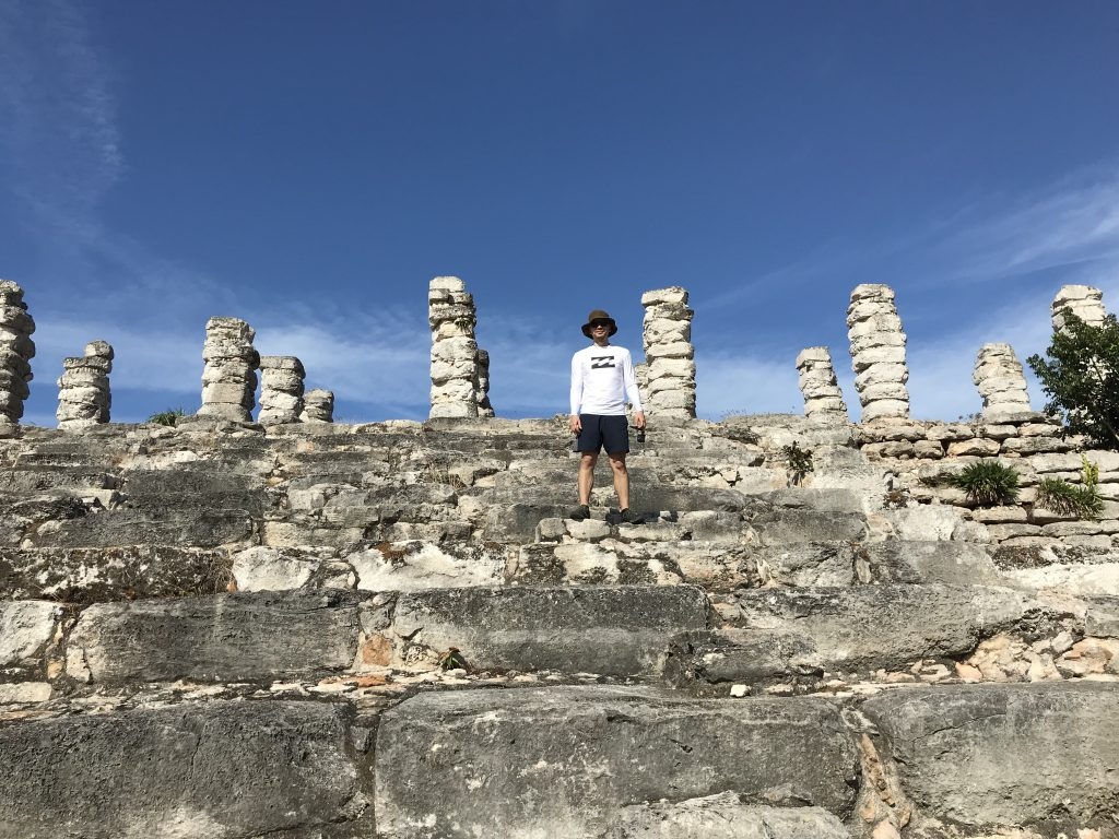 Unique column ruins. Ruinas de Aké, Mexico.