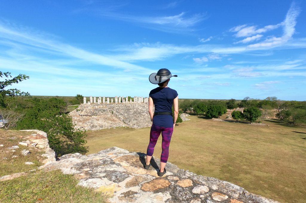 View from top of steep ruin to column ruin, Aké, Yucatán, Mexico.