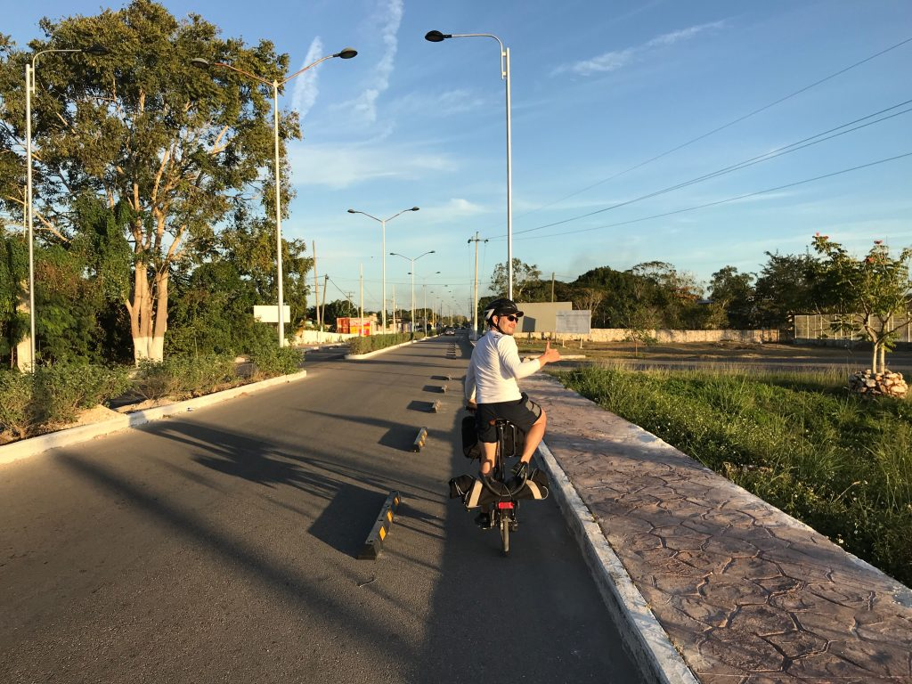 A bit of bike infrastructure on the road into Izamal, Mexico.