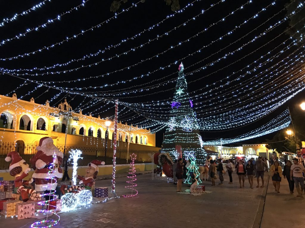 Main square of Izamal, Mexico, decorated for Christmas.