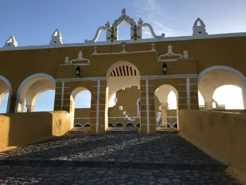 Entrance to the Convento de San Antonio De Padua in the sunrise. Izamal, Mexico.