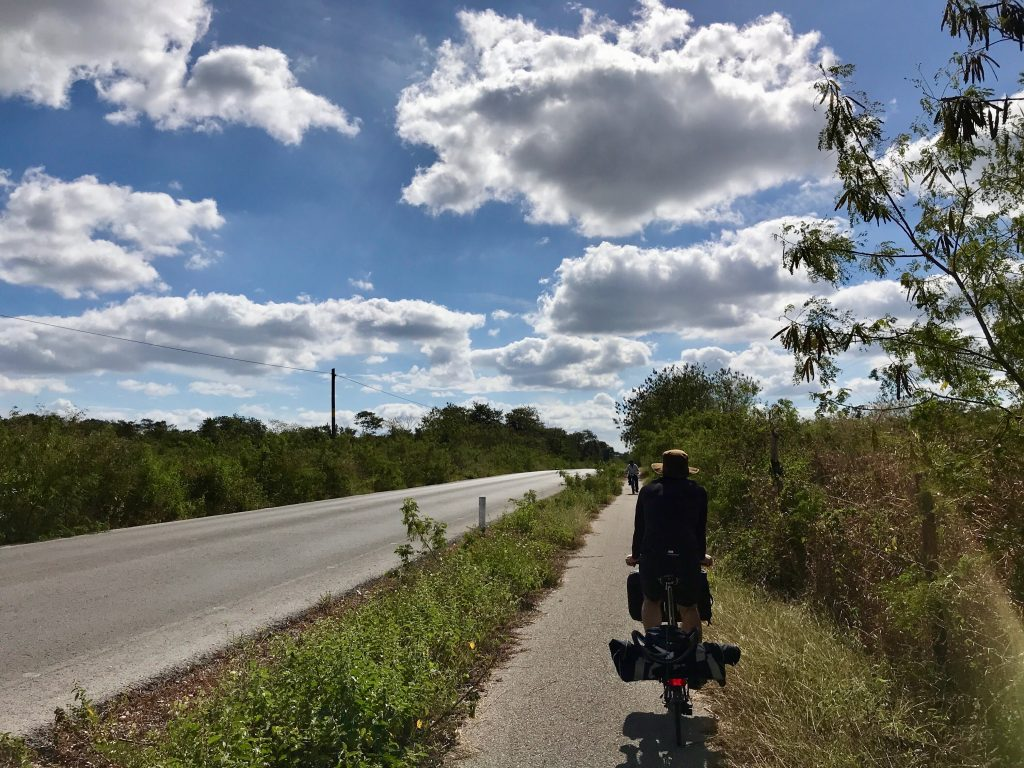 Separated bike path alongside highway south of Izamal en route to Sudzal, Mexico.