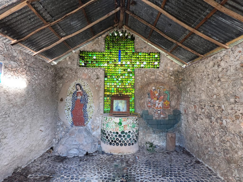 Interior of Christian-Maya chapel east of Sudzal, Yucatan, Mexico.
