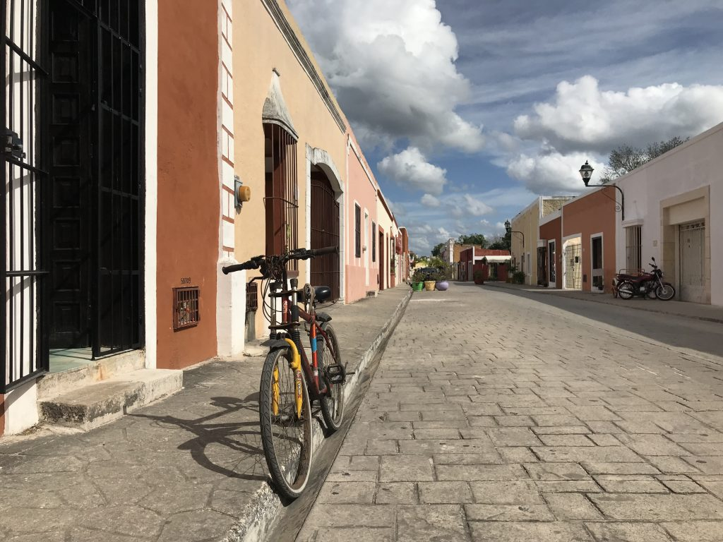 Bike parked in curb of Calle 41A. Valladolid, Mexico.