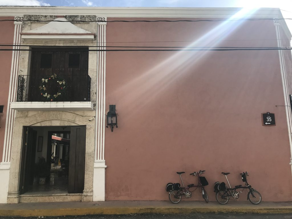 Our Bromptons in front of Hotel Coloial La Aurora. Valladolid, Mexico.