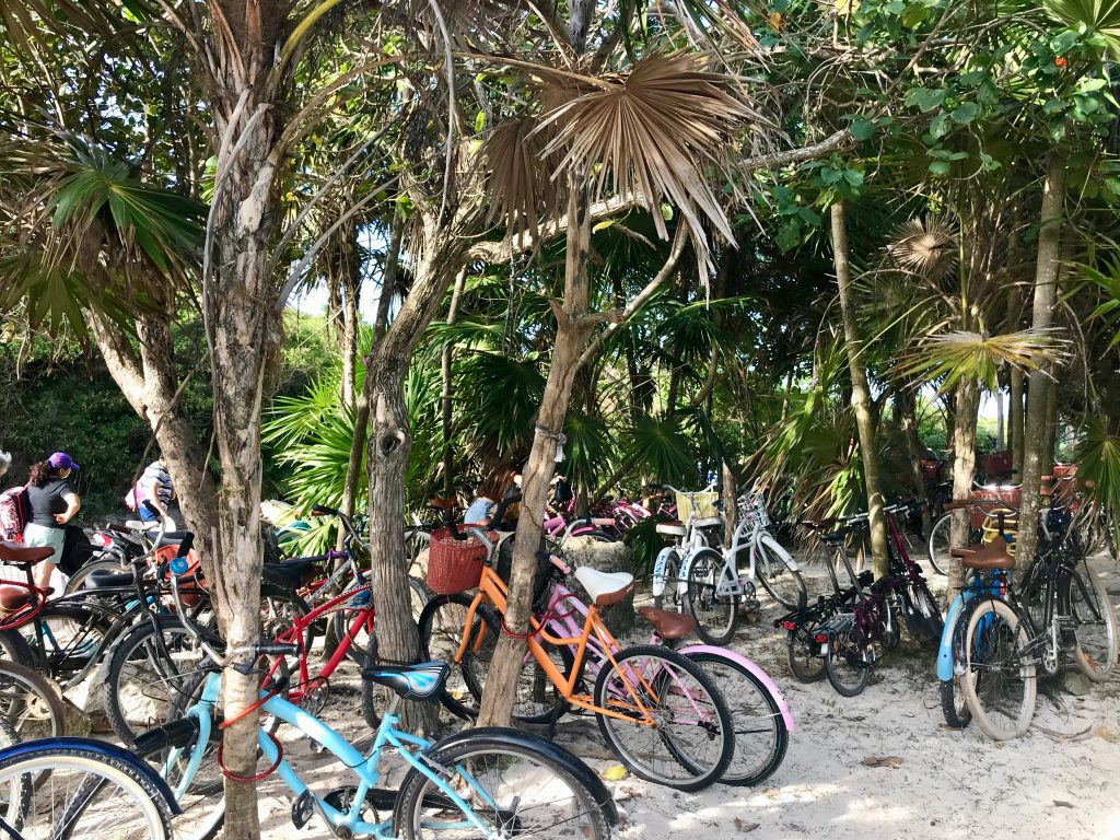 Tulum beach bike parking.
