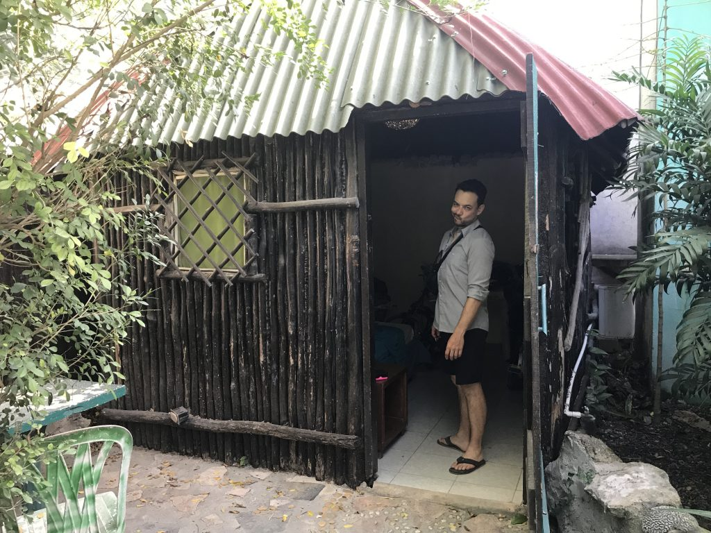 Our cabana was a shack with a padlocked door. Tulum, Mexico