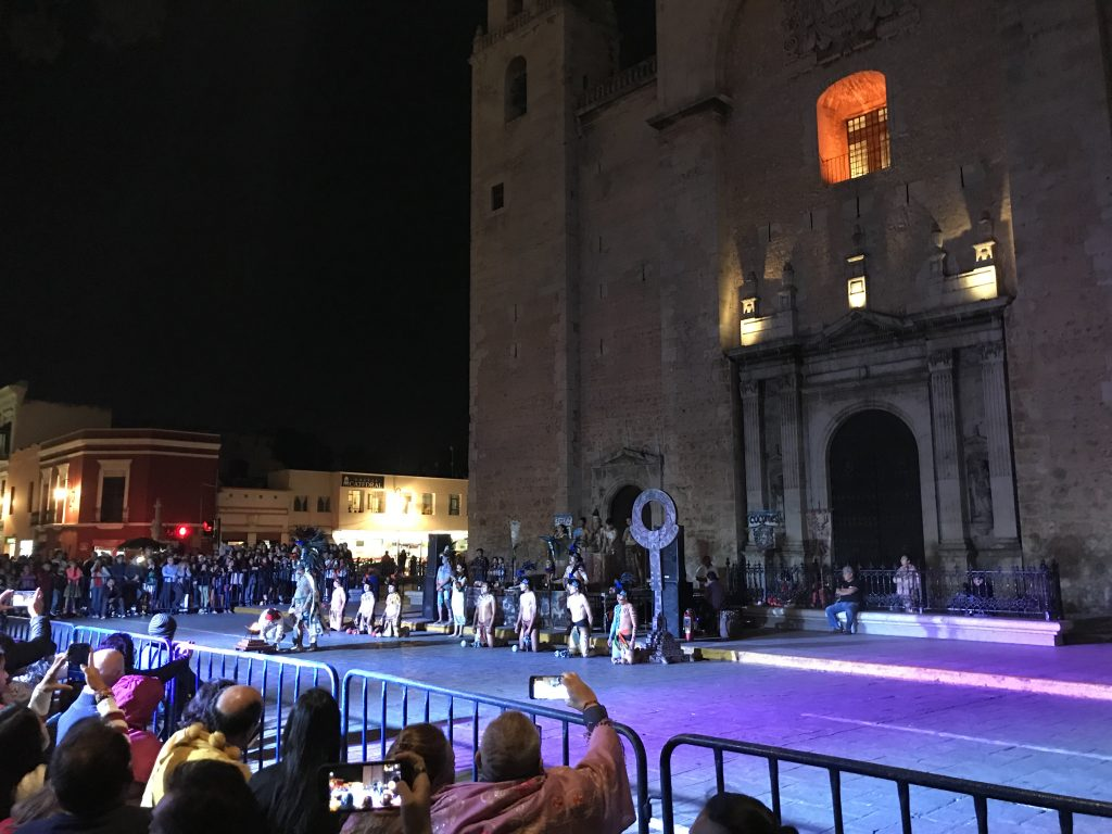 Maya ball game ceremony in front of the Catedral de San Ildefonso. Merida, Mexico.