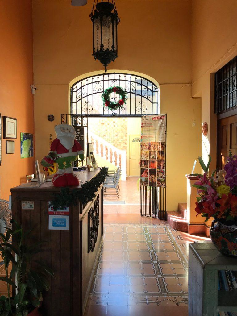 Lobby of Hotel del Peregrino. Merida, Mexico.