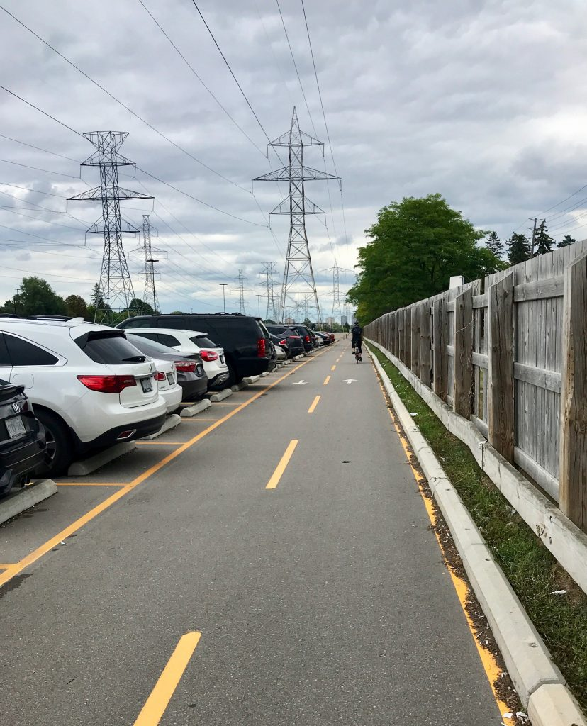 Bike lane in the Finch Station parking lot. Toronto, Canada.