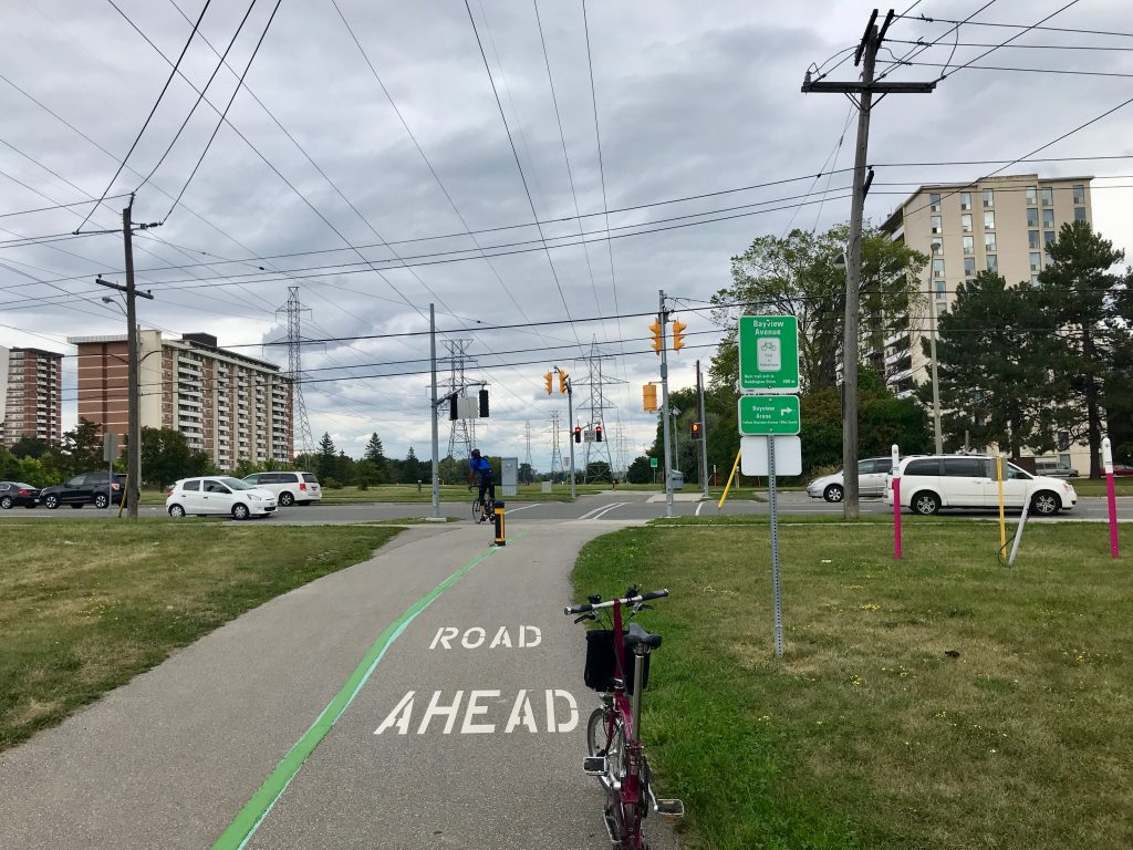 Bike crossing at Bayview Ave and the Finch Hydro Corridor East. Toronto, Canada.