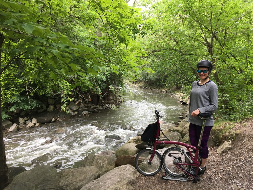 Me and my Brompton by the Don Valley River. Toronto, Canada.