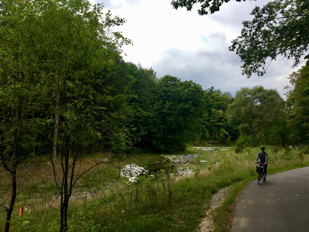 Cycling on Wilket Creek Trail in Toronto, Canada.