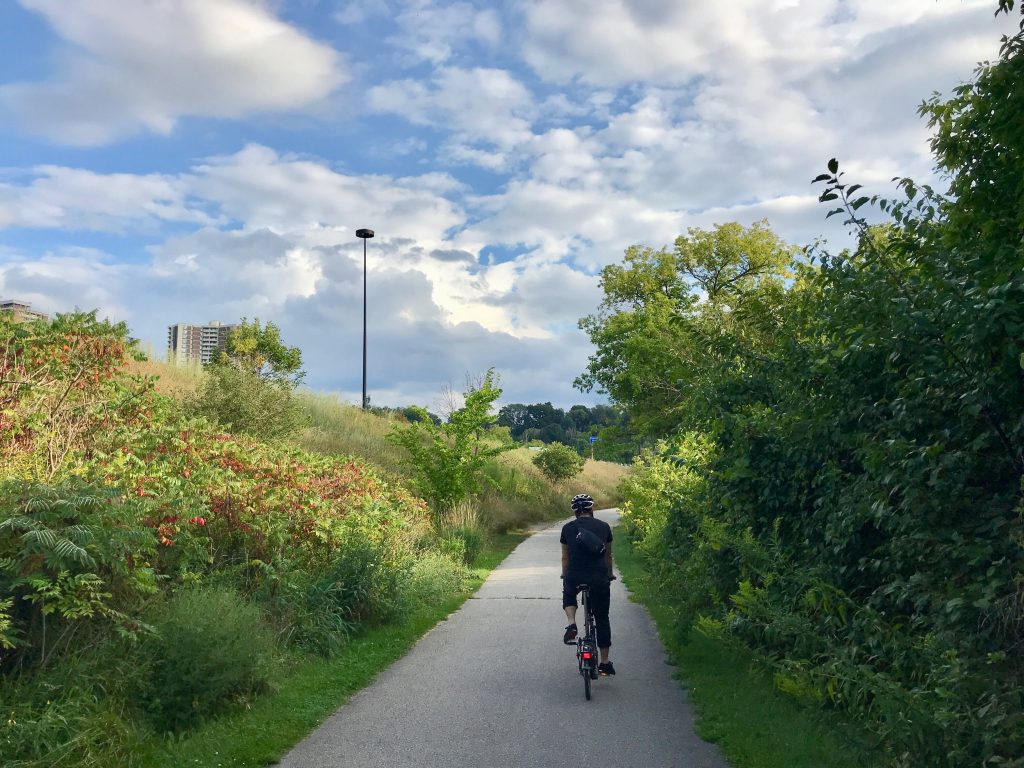 Cycling on the Lower Don Valley Trail, Toronto, Ontario, Canada.