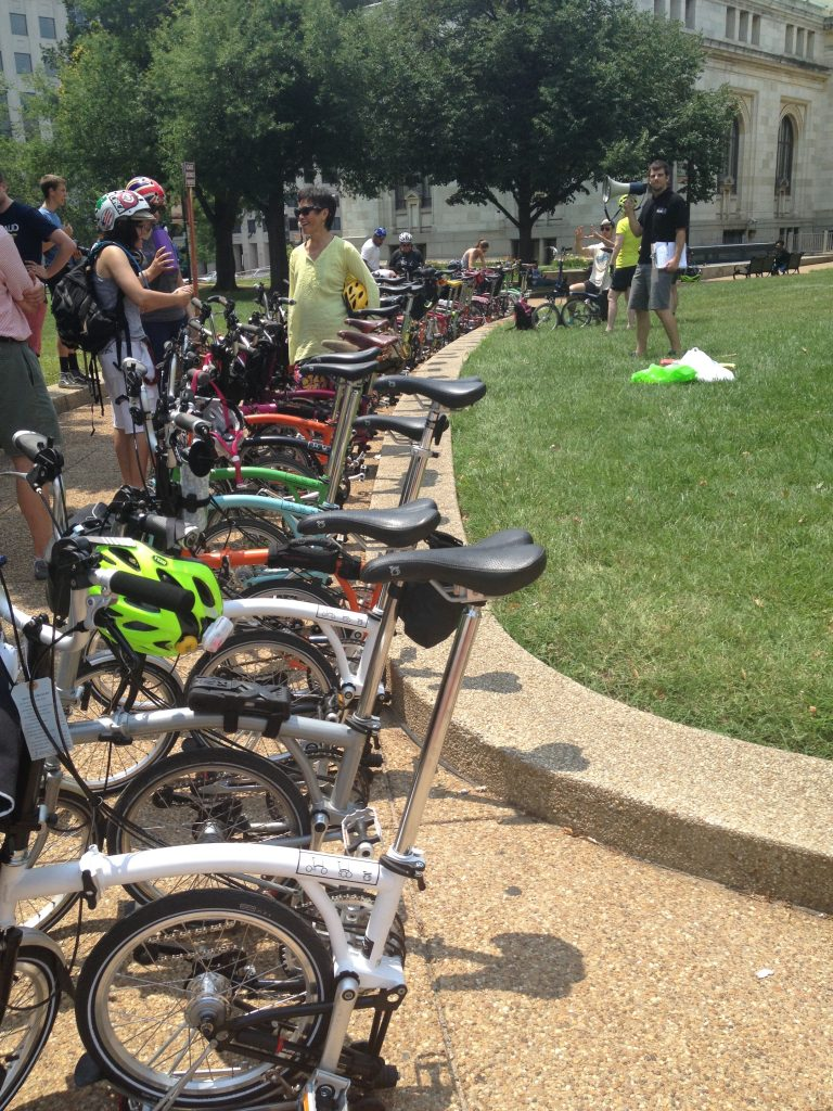 Bromptons assembled in the park ready for BUC2014. Washington, DC