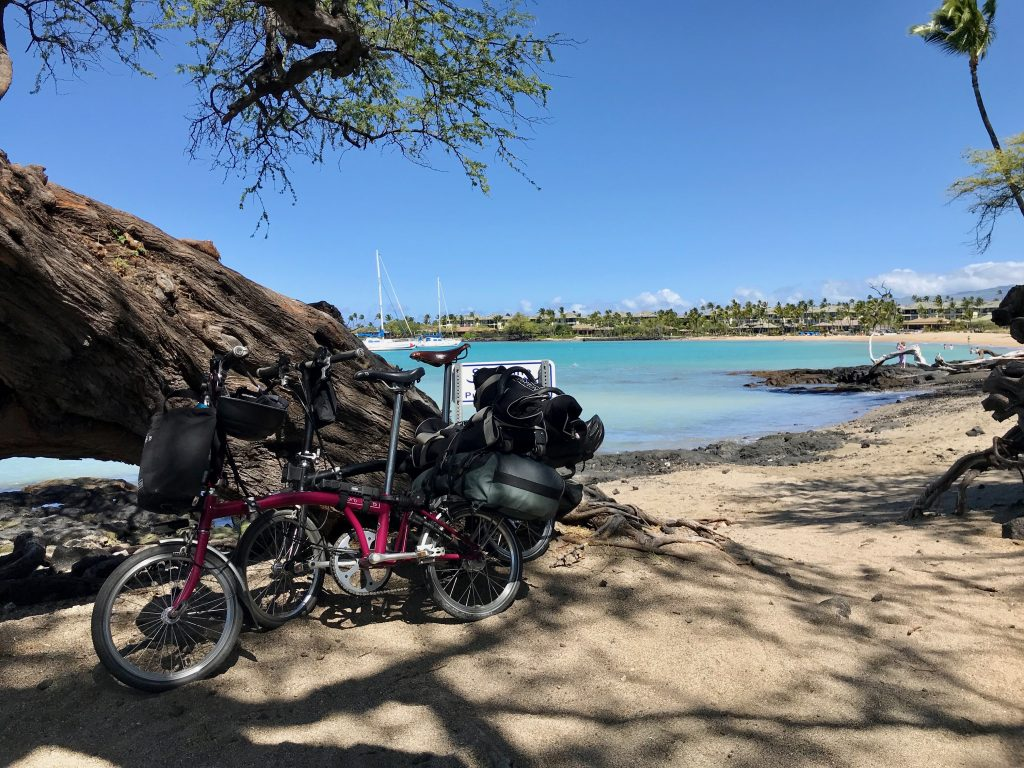 The Bromptons at 'Anaeho'omalu Bay (aka A Bay) beach.