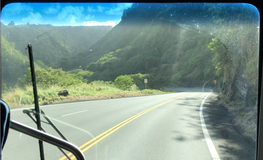 Driving into the Laupahoehoe gulch!