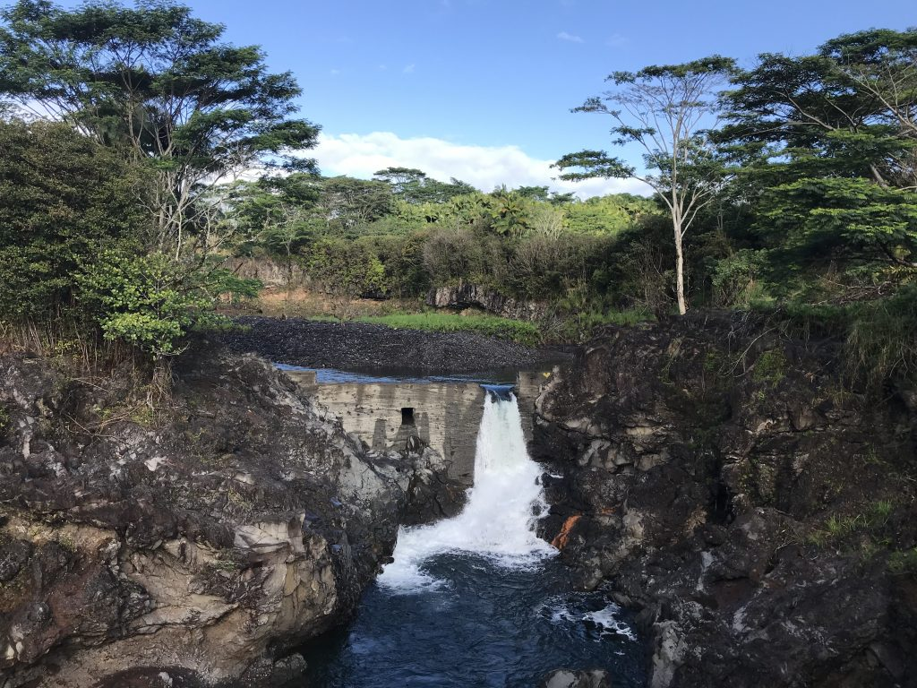 Little dam waterfall at Wai'ale Falls, Hilo, Hawaii