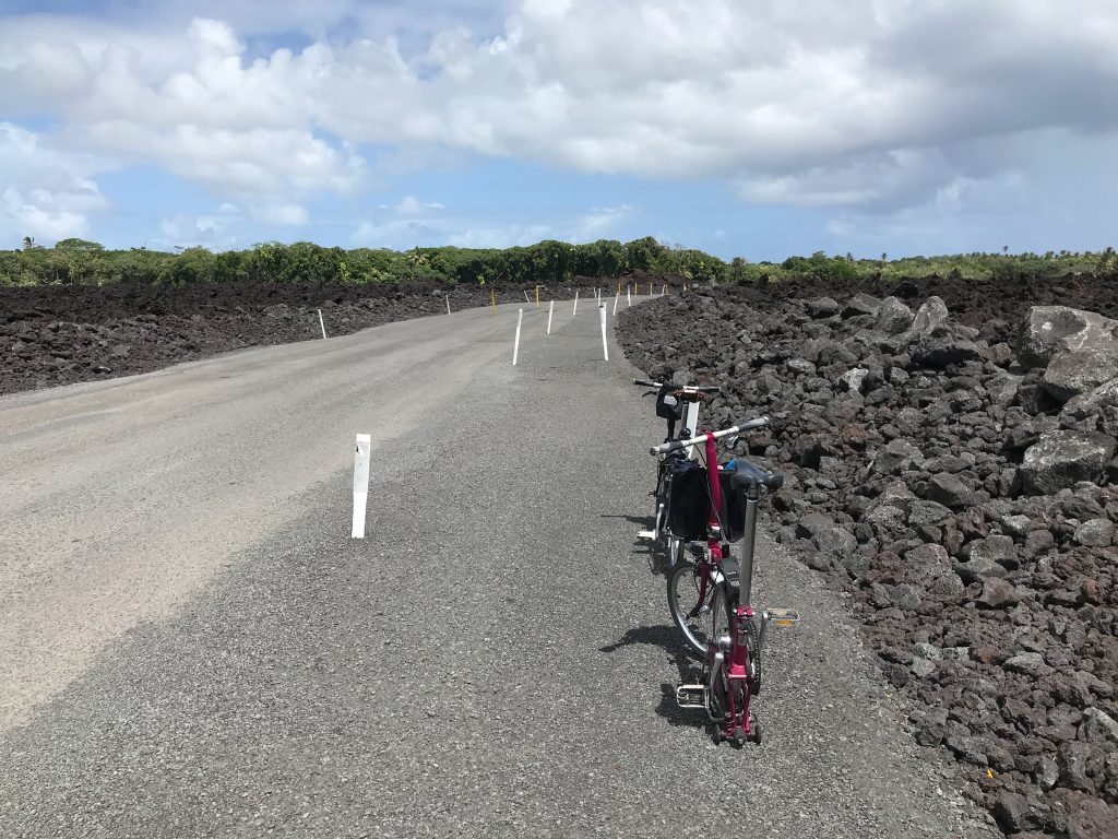 New section of Highway 137 (The Red Road) cut through the lava.