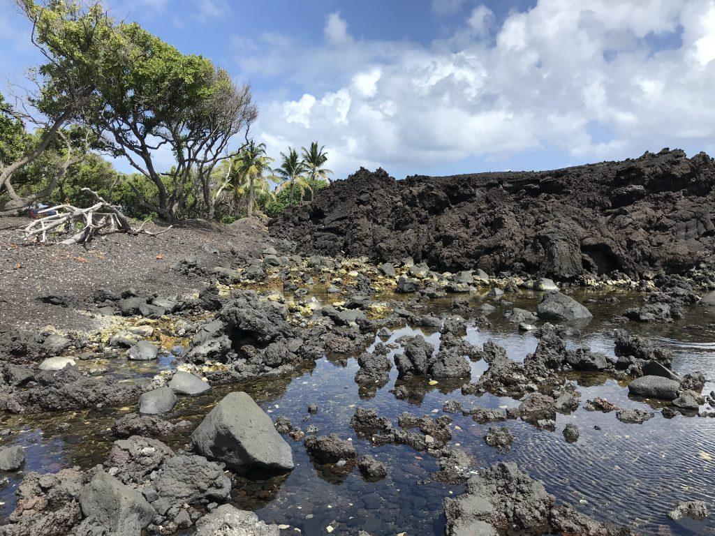 Lava rock on the edge of Isaac Hale Park. Puna, Hawaii
