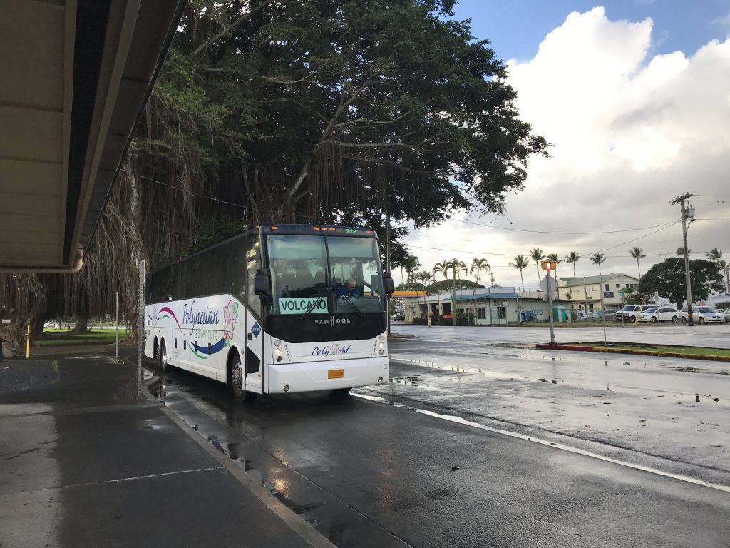 The Hele-On bus to Volcano at the Mooheau Bus Terminal in Hilo.