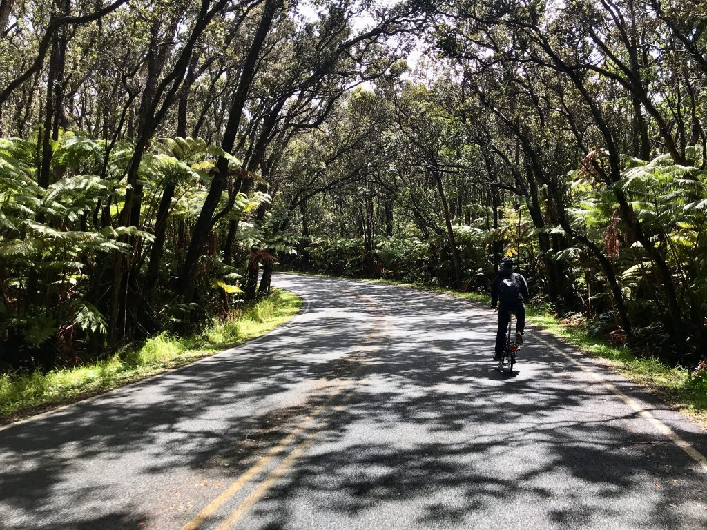 Cycling on Crater Rim Drive, Volcanoes National Park, The Big Island, Hawaii.