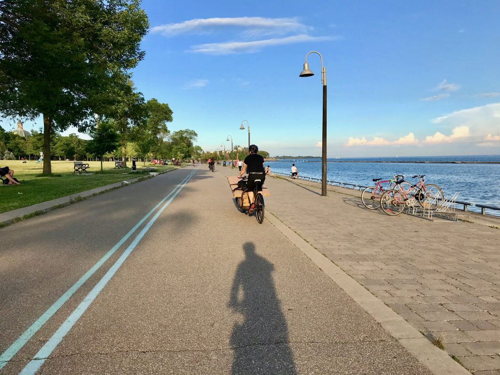 Cycling on the Martin Goodman Trail past Marilyn Bell Park. Toronto, Canada
