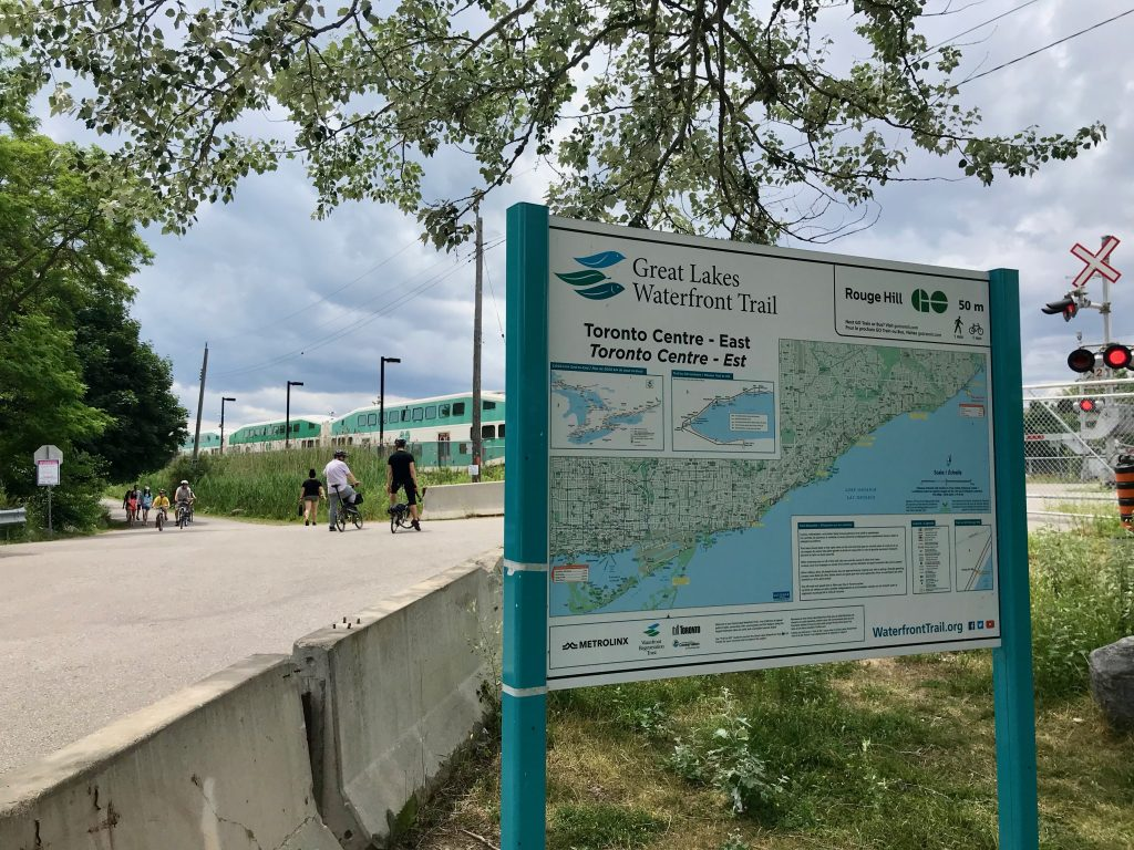 The Waterfront Trail is right beside the Rouge Hill GO station. Toronto, Canada