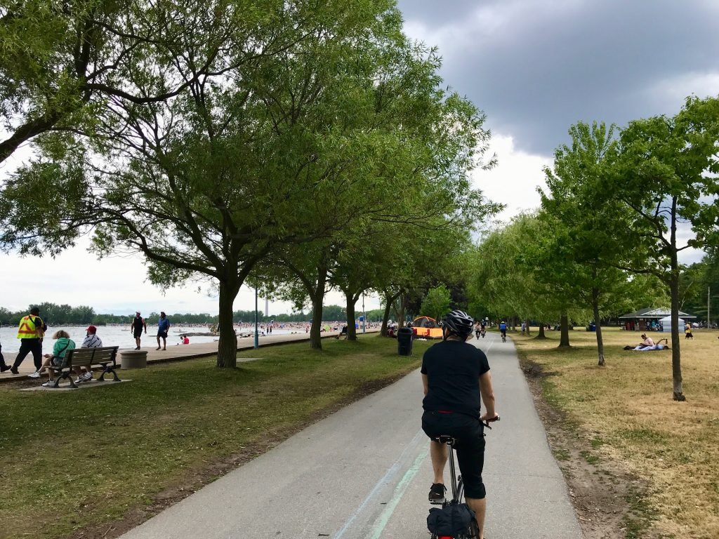 Cycling through The Beaches, Toronto.