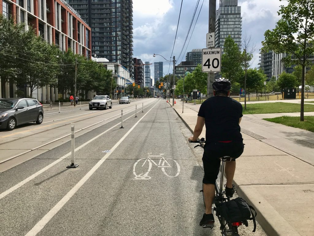 Coming home on a newly installed bike lane on Dundas St. E, Toronto.