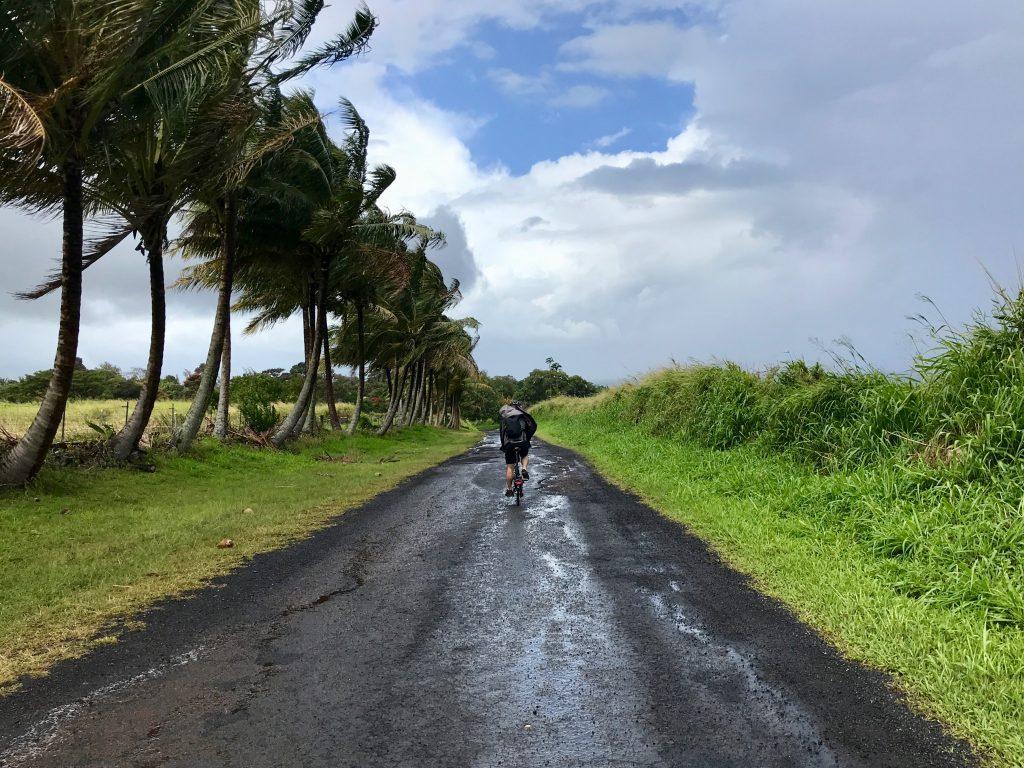 Windy, rainy ride along Old Mamalahoa Hwy to Honomu, The Big Island, Hawaii