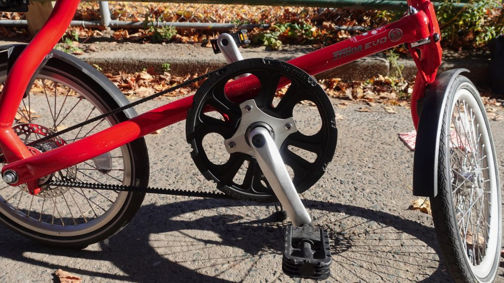 The Strida's belt drive and disc brakes are set to repel slush!