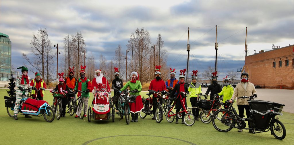 Santa For Safe Streets group shot, Toronto, Canada