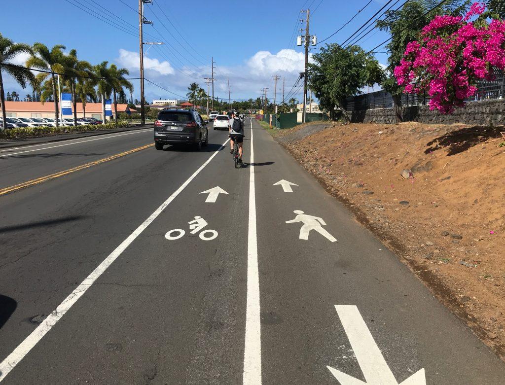 Bike and pedestrian lanes on Kuakini Highway (Kona, Hawaii).