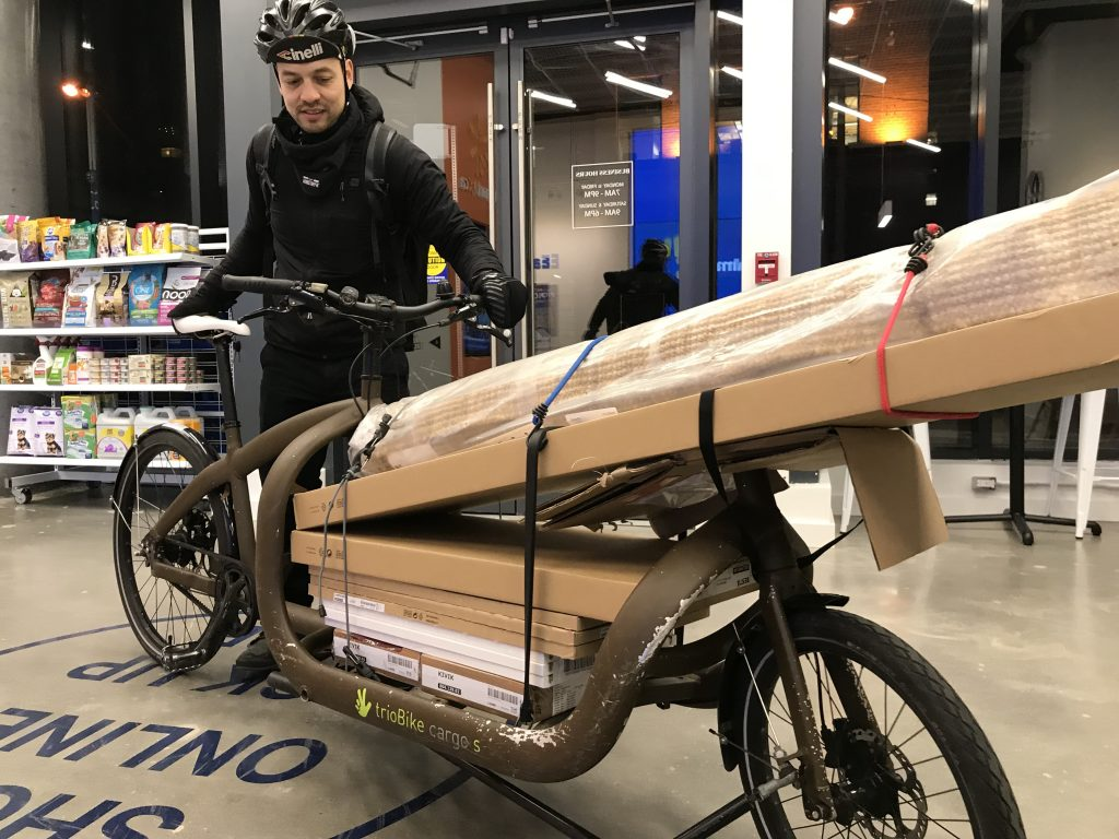 Triobike Cargo loaded down with boxes.